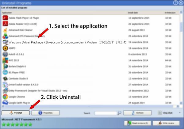 Uninstall Windows Driver Package - Broadcom (cdcacm_modem) Modem  (03/28/2011 2.8.0.4)