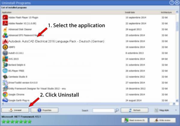 Uninstall Autodesk AutoCAD Electrical 2016 Language Pack - Deutsch (German)