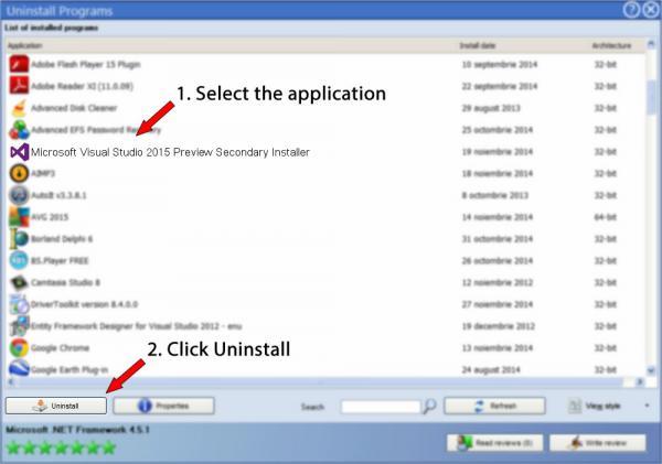 Uninstall Microsoft Visual Studio 2015 Preview Secondary Installer