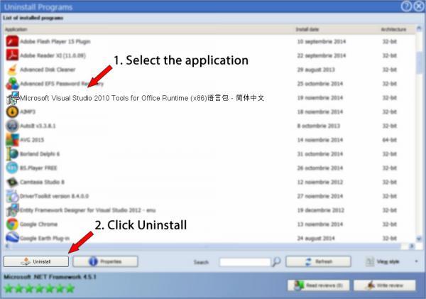 Uninstall Microsoft Visual Studio 2010 Tools for Office Runtime (x86)语言包 - 简体中文