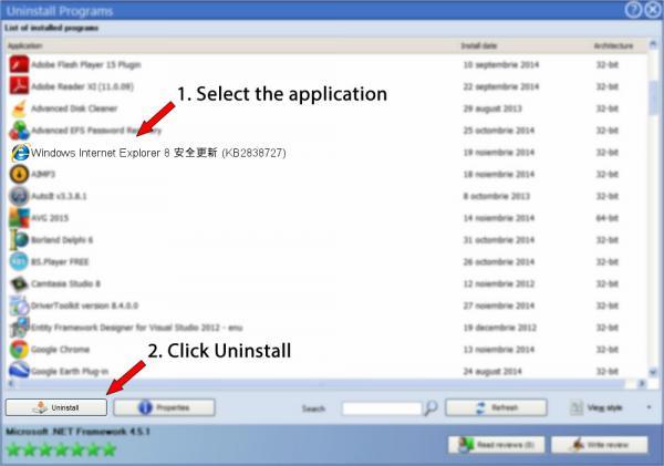 Uninstall Windows Internet Explorer 8 安全更新 (KB2838727)