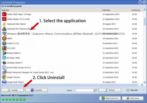 Uninstall Windows 驱动程序包 - Qualcomm Atheros Communications (BtFilter) Bluetooth  (02/21/2014 8.0.0001.0318)