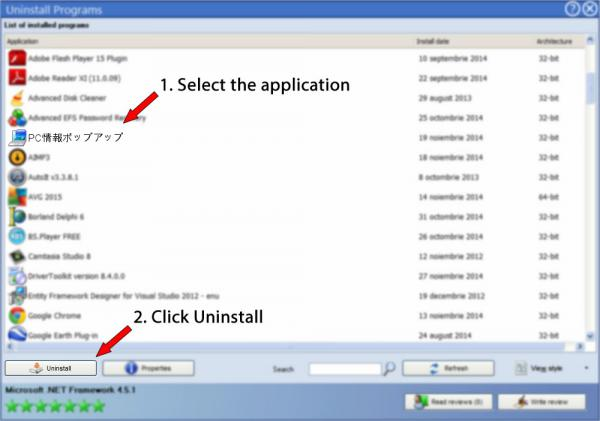 Uninstall PC情報ポップアップ