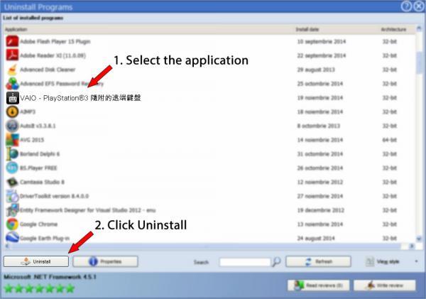 Uninstall VAIO - PlayStation®3 隨附的遠端鍵盤