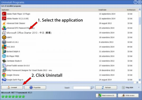 Uninstall Microsoft Office Starter 2010 - 中文 (繁體)