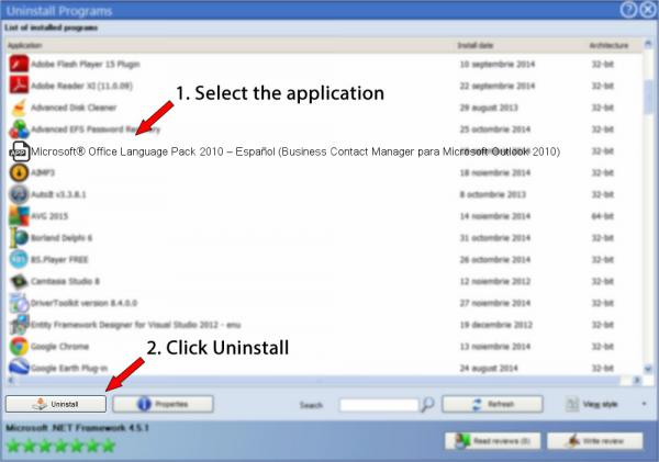 Uninstall Microsoft® Office Language Pack 2010 – Español (Business Contact Manager para Microsoft Outlook 2010)
