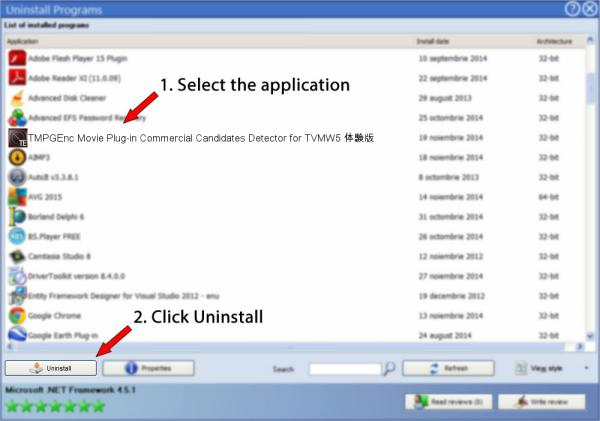 Uninstall TMPGEnc Movie Plug-in Commercial Candidates Detector for TVMW5 体験版